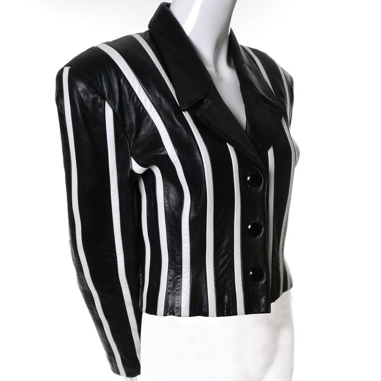 Michael Hoban North Beach Leather Vintage Cropped Striped Black White Jacket  4