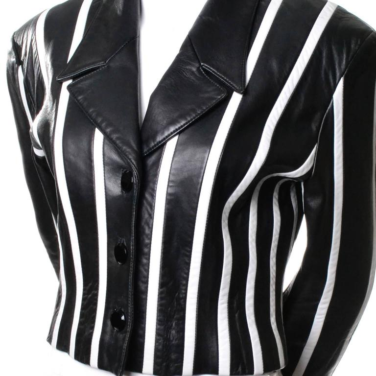 Michael Hoban North Beach Leather Vintage Cropped Striped Black White Jacket  5