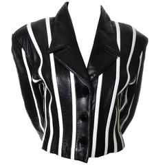 Michael Hoban North Beach Leather Vintage Cropped Striped Black White Jacket