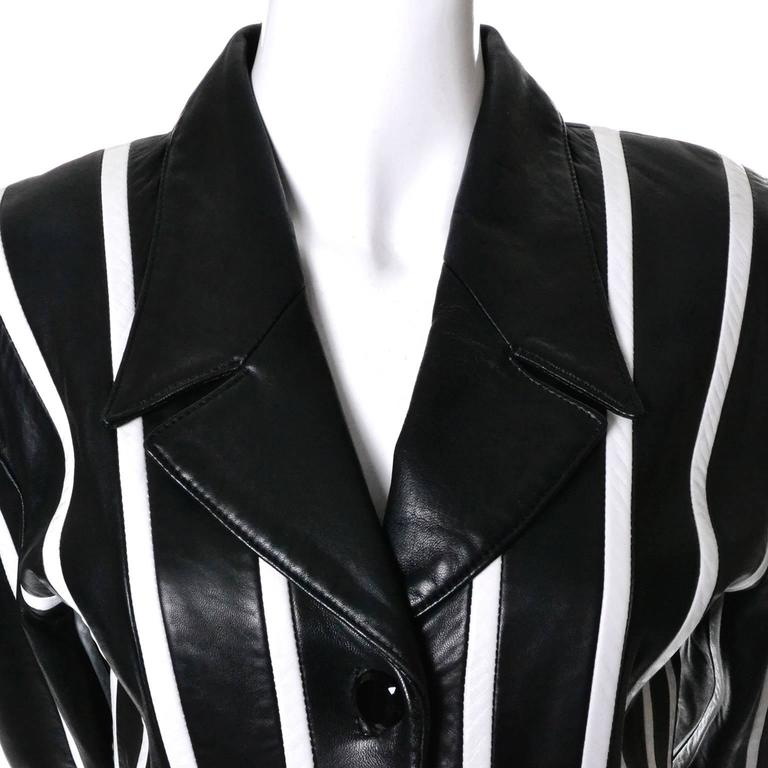 Michael Hoban North Beach Leather Vintage Cropped Striped Black White Jacket  6