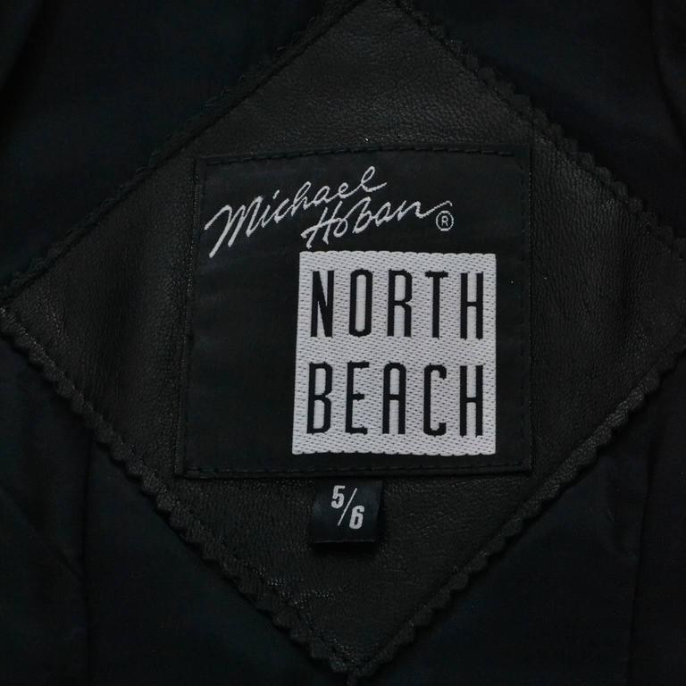 Michael Hoban North Beach Leather Vintage Cropped Striped Black White Jacket  7
