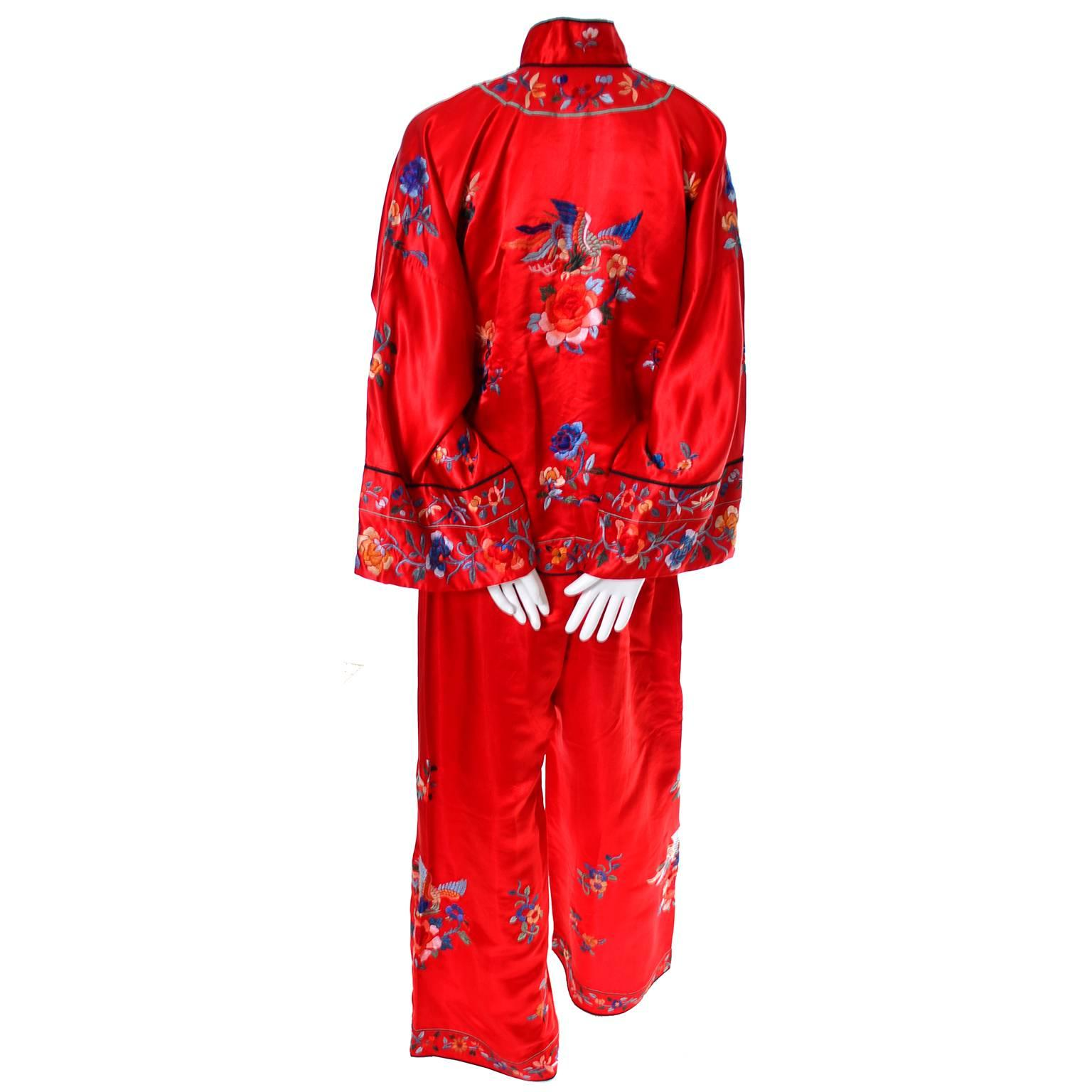 ea4a8805ae 1940s Vintage Chinese Pajamas Red Silk Embroidered Top and Bottoms at  1stdibs