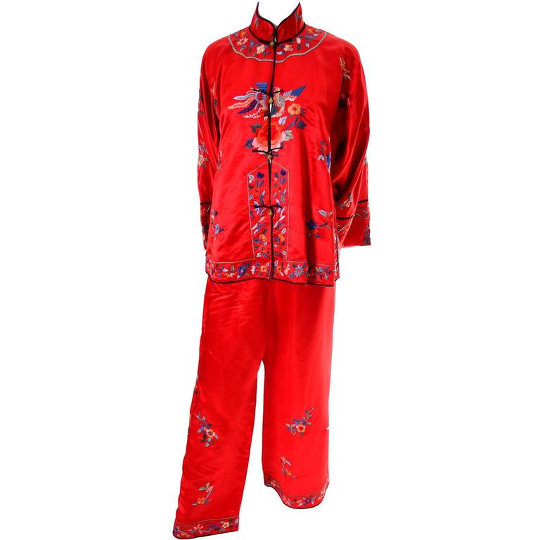 1940s Vintage Chinese Pajamas Red Silk Embroidered Top and Bottoms