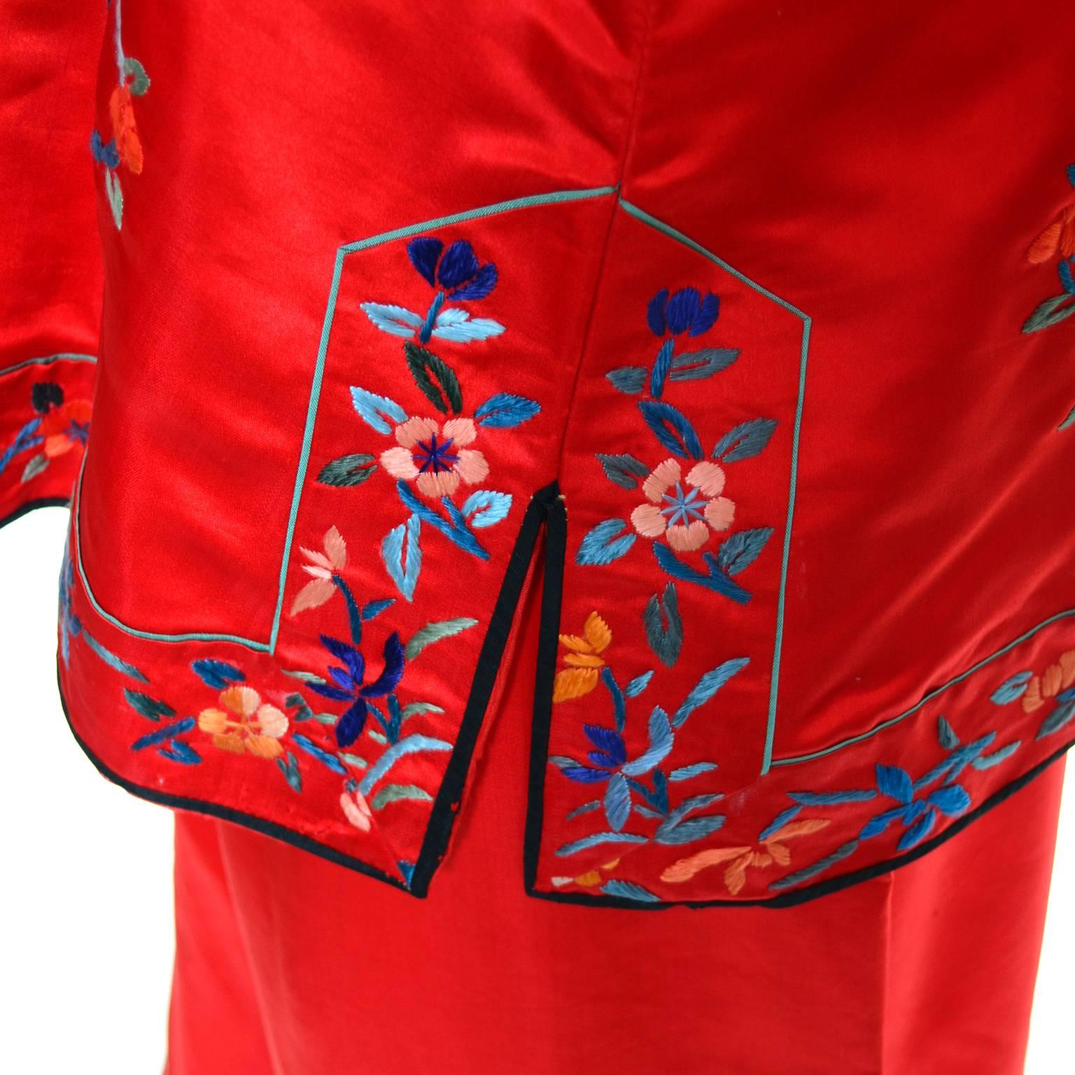 1940s Vintage Chinese Pajamas Red Silk Embroidered Top and Bottoms at  1stdibs 2af7f0413