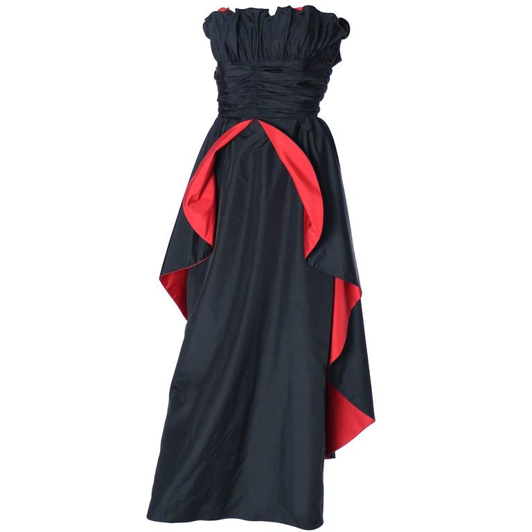 1980's Dramatic Black Red Strapless Taffeta Vintage Dress Evening Gown