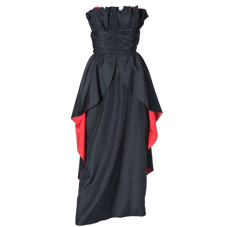 1980's Dramatic Black Red Strapless Taffeta Vintage Dress ...