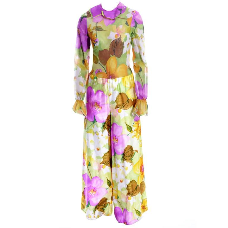 Deadstock Vintage Tina Leser Jumpsuit & Vest In Bold Floral Satin & Chiffon