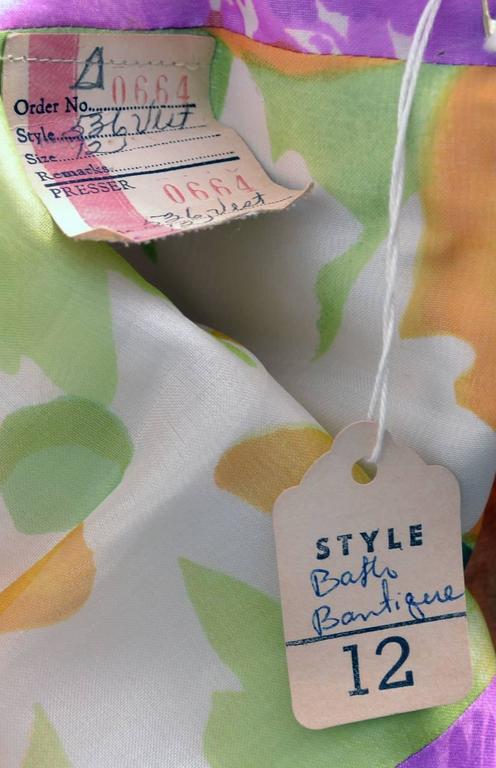 Deadstock Vintage Tina Leser Jumpsuit & Vest In Bold Floral Satin & Chiffon For Sale 1