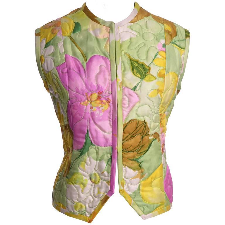 Beige Deadstock Vintage Tina Leser Jumpsuit & Vest In Bold Floral Satin & Chiffon For Sale