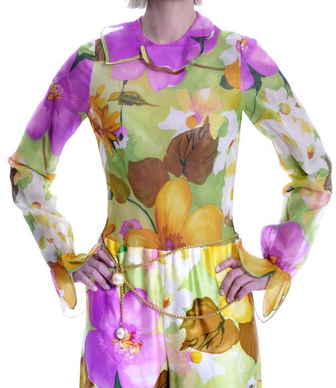 Women's Deadstock Vintage Tina Leser Jumpsuit & Vest In Bold Floral Satin & Chiffon For Sale