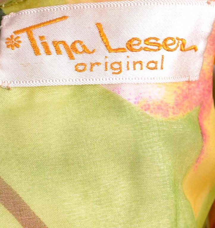 Deadstock Vintage Tina Leser Jumpsuit & Vest In Bold Floral Satin & Chiffon For Sale 2