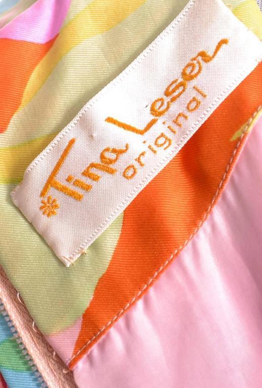 Deadstock Vintage Tina Leser Jumpsuit & Vest In Bold Floral Satin & Chiffon For Sale 3