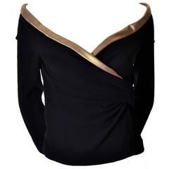 Donna Karan Black Stretch Crepe Wool Vintage Wrap Top with Gold Trim NWT Small