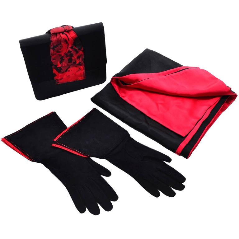Paloma Picasso 3Pc Vintage Accessories Gauntlet Gloves Clutch Handbag Wrap Scarf 1