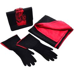 Paloma Picasso 3Pc Vintage Accessories Gauntlet Gloves Clutch Handbag Wrap Scarf