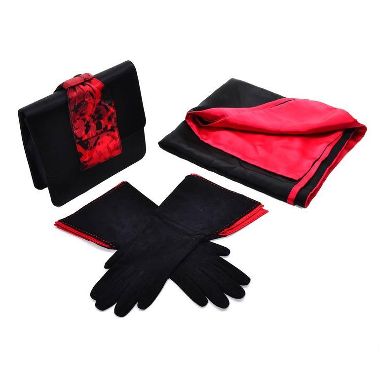 Paloma Picasso 3Pc Vintage Accessories Gauntlet Gloves Clutch Handbag Wrap Scarf 6