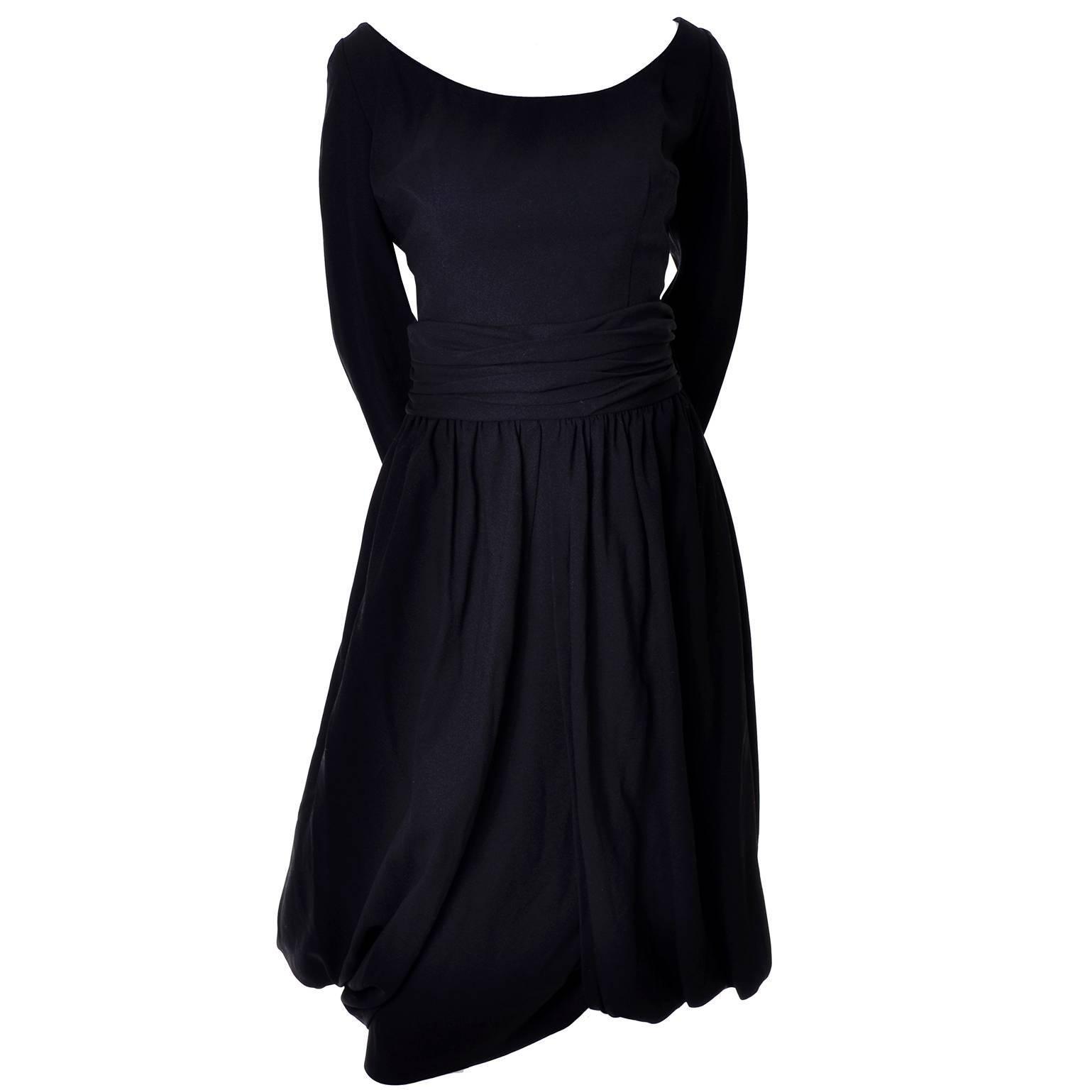 Mr. Blackwell Vintage Black Silk Crepe Dress Fly Away Panels Mid Century 8/10