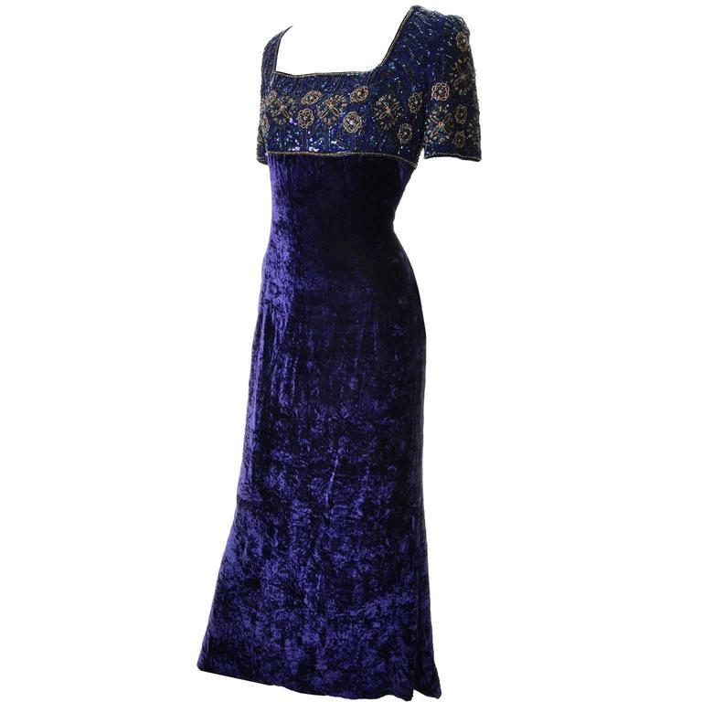Escada Couture Vintage Blue Crushed Velvet Dress Evening Gown W Beads Sequins For