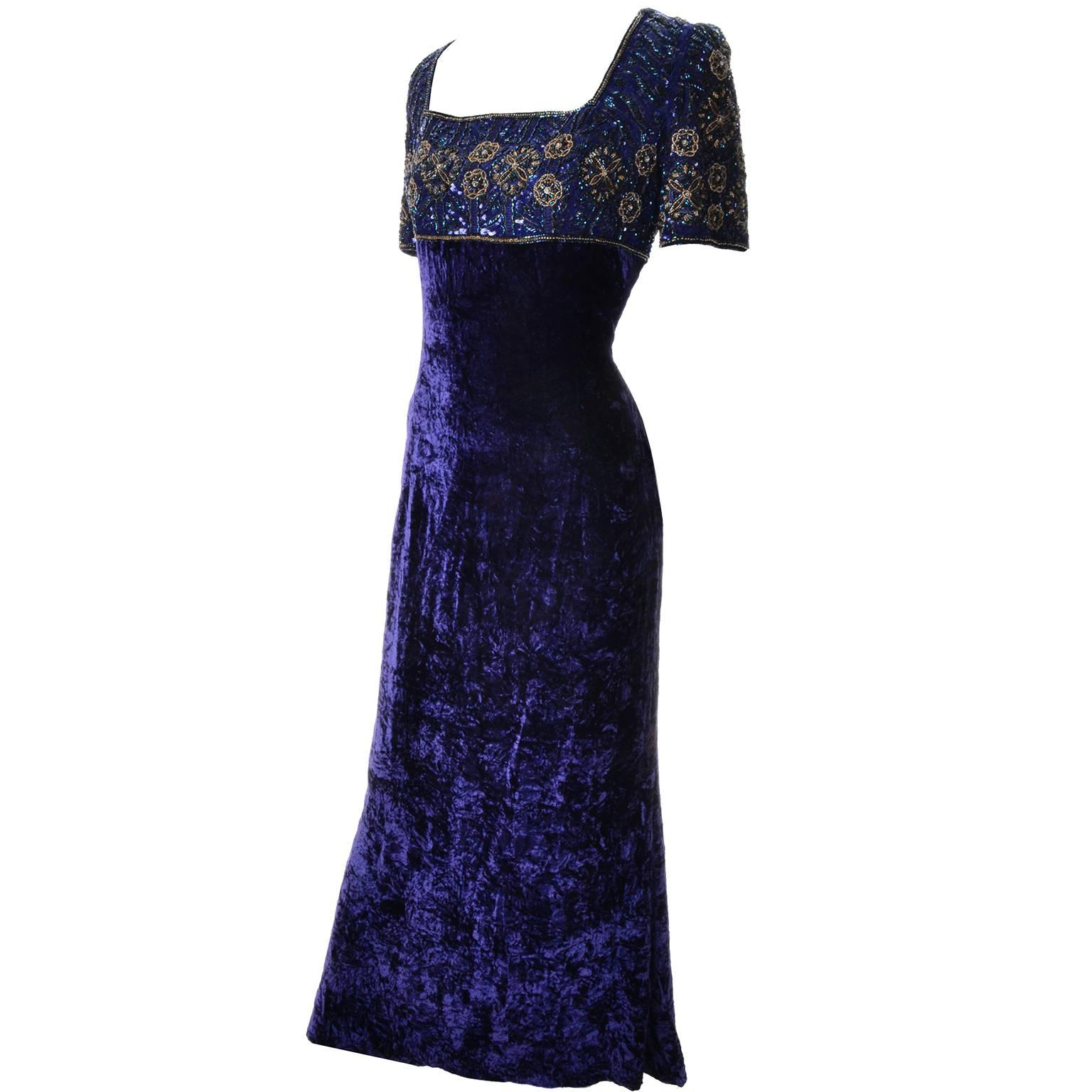 Escada Couture Vintage Blue Crushed Velvet Dress Evening Gown W ...