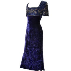 Escada Couture Vintage Blue Crushed Velvet Dress Evening Gown W Beads & Sequins