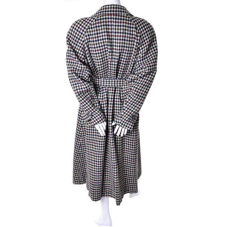 Women's 1980s Kenzo Vintage Coat Wool Houndstooth Plaid Check Multi Color