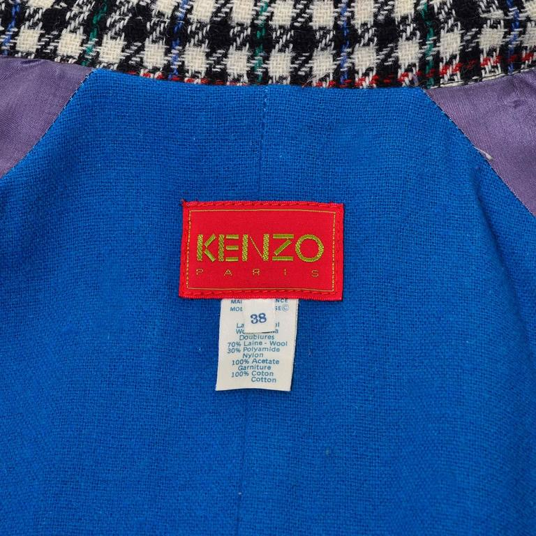 1980s Kenzo Vintage Coat Wool Houndstooth Plaid Check Multi Color  1