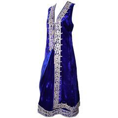 Vintage Afghanistan Blue Velvet Skirt Waistcoat Outfit Pashtun Embroidery