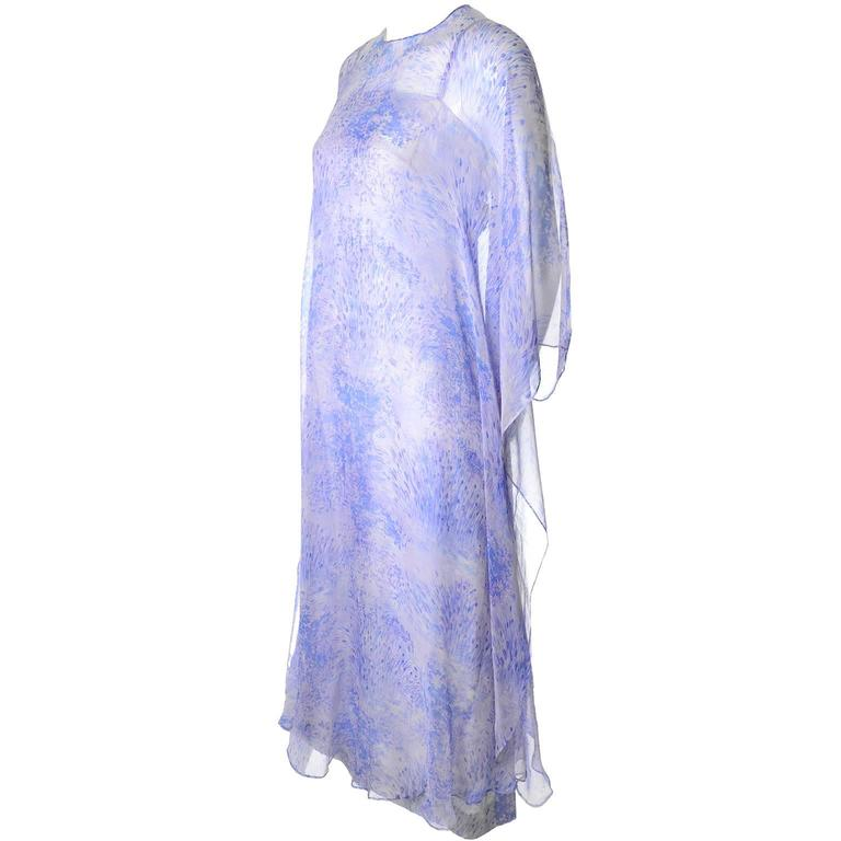 1970s Balmain Vintage Dress in Silk w/ Chiffon Caftan in Lavender Floral Print For Sale