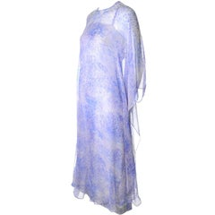 1970s Balmain Vintage Dress in Silk w/ Chiffon Caftan in Lavender Floral Print