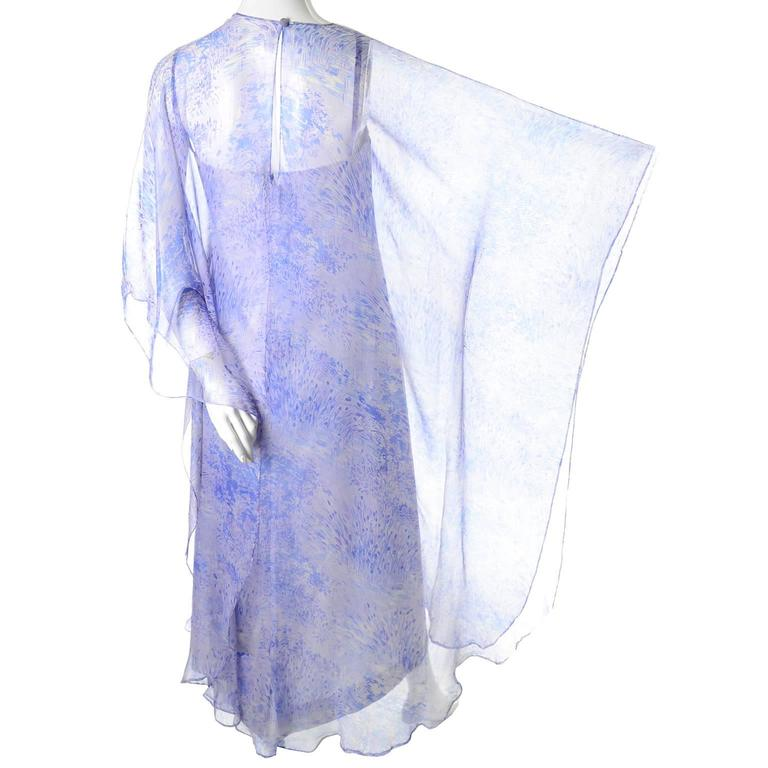 Purple 1970s Balmain Vintage Dress in Silk w/ Chiffon Caftan in Lavender Floral Print For Sale
