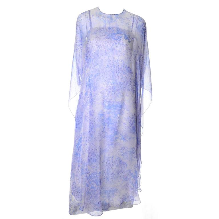 1970s Balmain Vintage Dress in Silk w/ Chiffon Caftan in Lavender Floral Print In Excellent Condition For Sale In Portland, OR