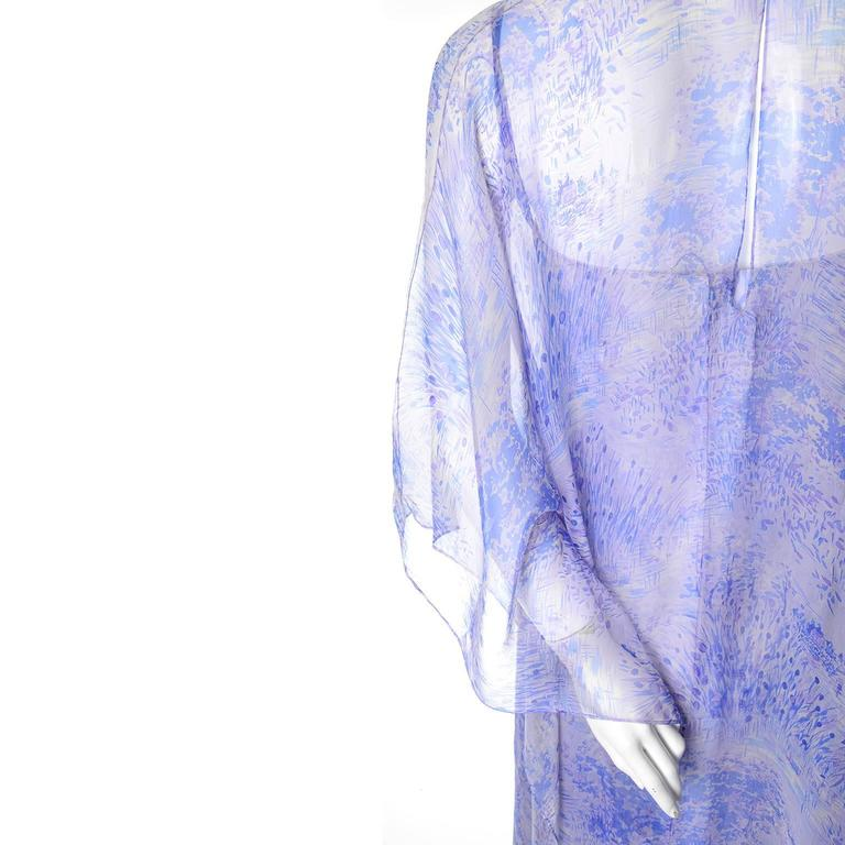 1970s Balmain Vintage Dress in Silk w/ Chiffon Caftan in Lavender Floral Print For Sale 1