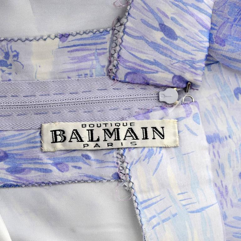 1970s Balmain Vintage Dress in Silk w/ Chiffon Caftan in Lavender Floral Print For Sale 2