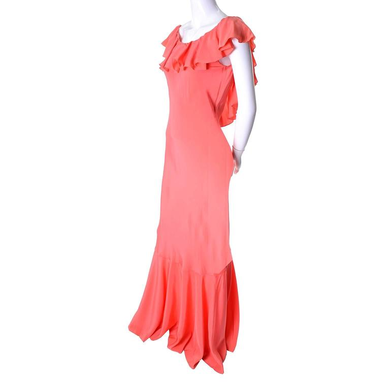 new oscar de la renta vintage dress 1990s salmon silk with