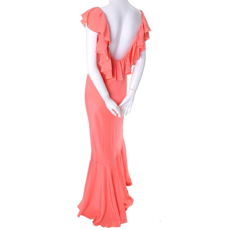 Oscar de la Renta Vintage Salmon Silk Dress With 10 Ruffles, 1990s
