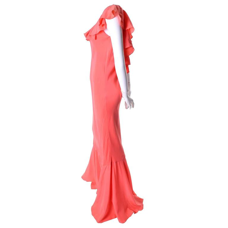 Pink Oscar de la Renta Vintage Salmon Silk Dress With 10 Ruffles, 1990s