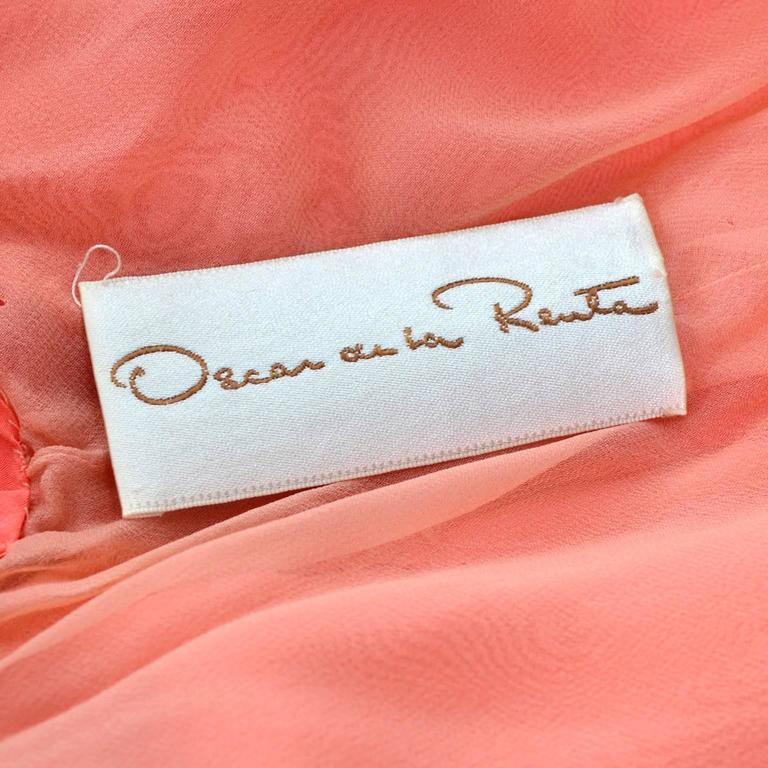Oscar de la Renta Vintage Salmon Silk Dress With 10 Ruffles, 1990s  1