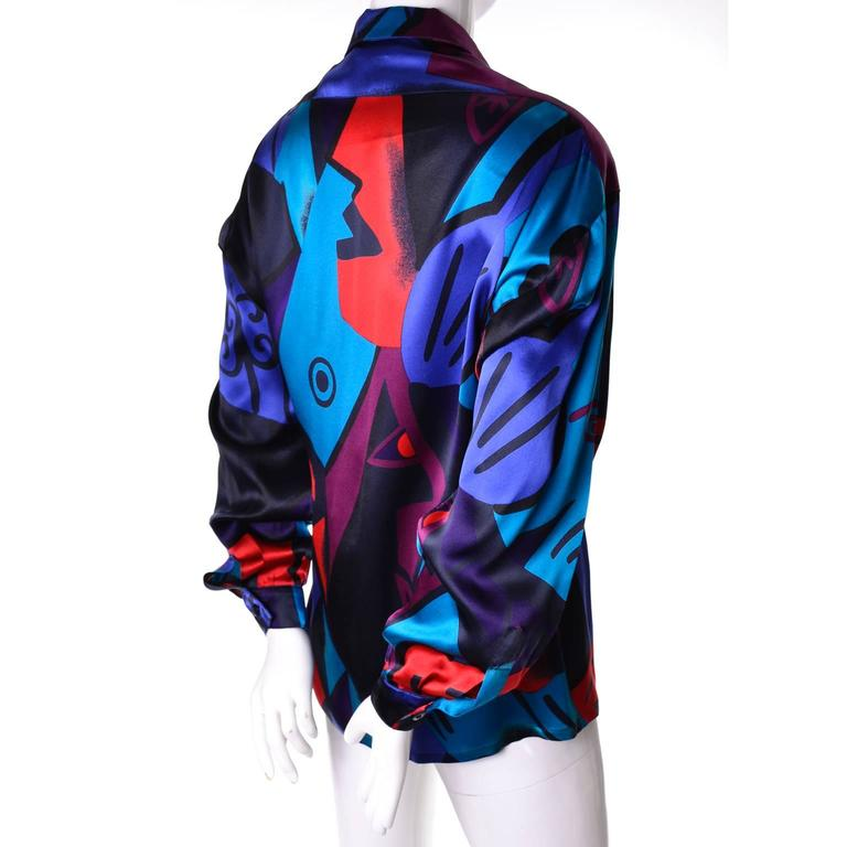 7fcc208addc38 ... 8 10 For Sale. This beautiful 100% silk vintage blouse was designed for  Escada by Margaretha Ley. The