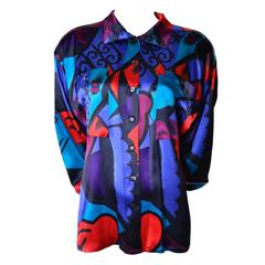 Vintage Escada Silk Abstract Print Blouse Margaretha Ley 1980's Size 8/10