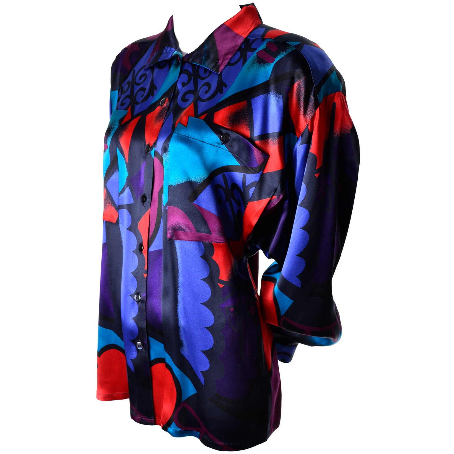 40c32790101d1 1980s Abstract Vintage Escada Blouse in Silk Designed By Margaretha Ley 8 10  at 1stdibs