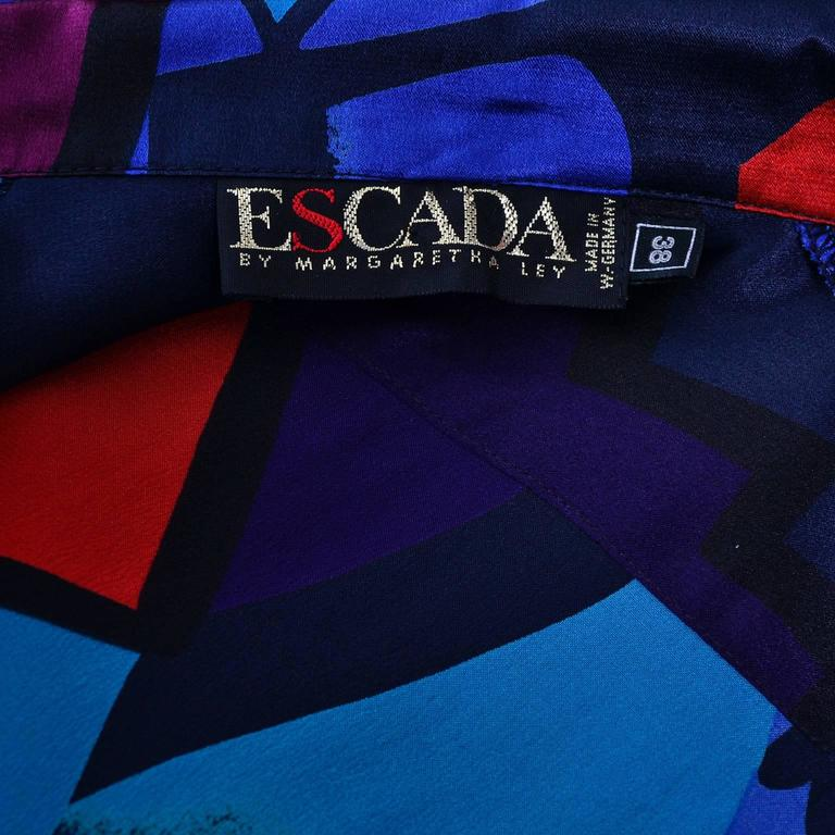 99325d9754c8c 1980s Abstract Vintage Escada Blouse in Silk Designed By Margaretha Ley 8 10  In Excellent