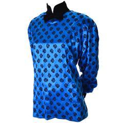 Escada Margaretha Ley Vintage Flocked Velvet Silk Blue Blouse Velvet Bow 38
