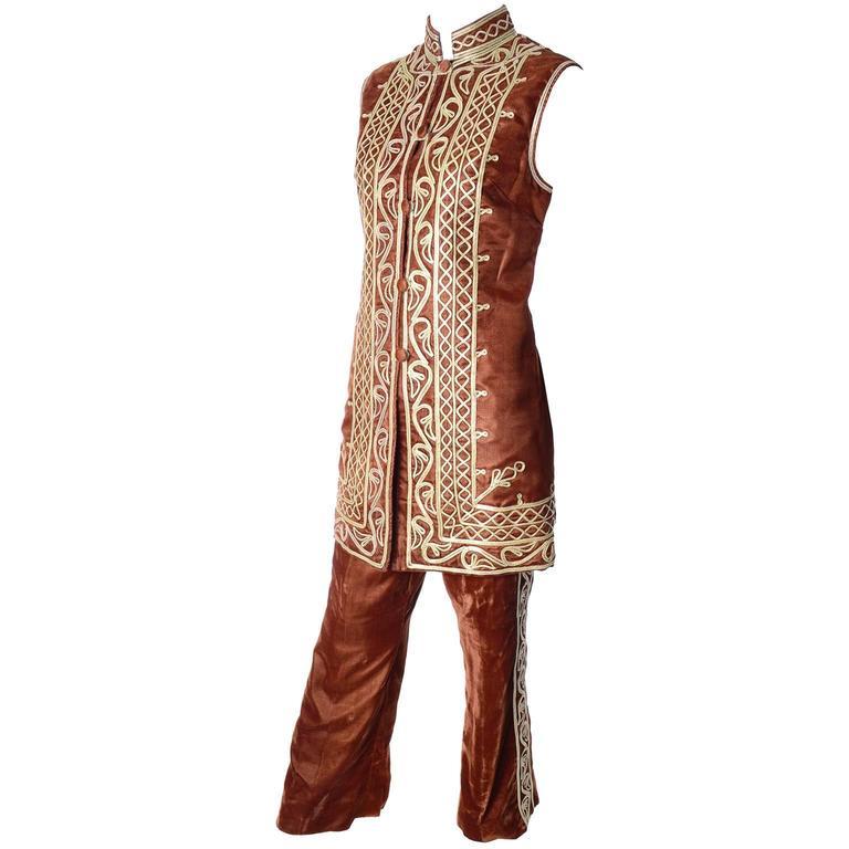 1970s Afghanistan Velvet Pantsuit Bohemian w/ Embroidered Waistcoat & Pants