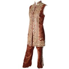 1970s Afghanistan Velvet Pantsuit Bohemian w/ Embroidered Waistcoat & Pants