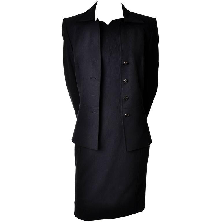 Escada 2 Piece Sleeveless Dress Jacket Suit Logo Buttons Wool Size ...
