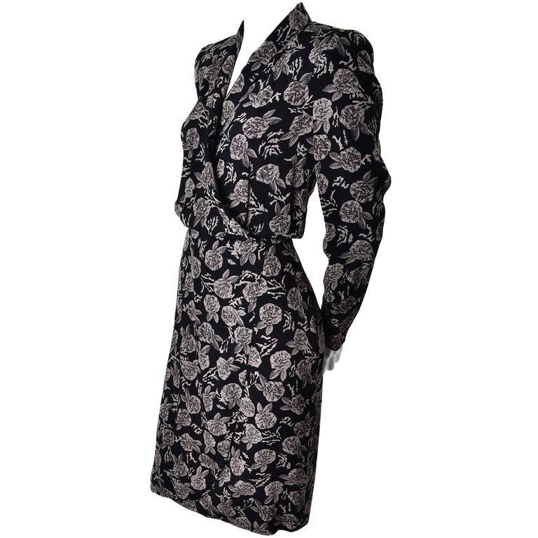 Sonia Rykiel Paris Vintage Floral Wrap Dress Rayon Roses Size 8/10