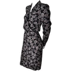 1980s Sonia Rykiel Paris Vintage Floral Wrap Dress Rayon Roses 8/10