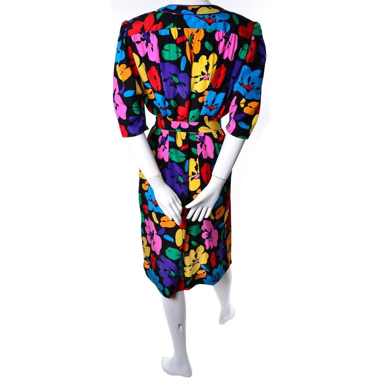 Women's Vintage Dress by Emanuel Ungaro Parallele in Bright Floral Silk Print For Sale