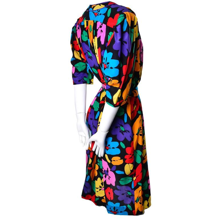 Vintage Dress by Emanuel Ungaro Parallele in Bright Floral Silk Print For Sale 1