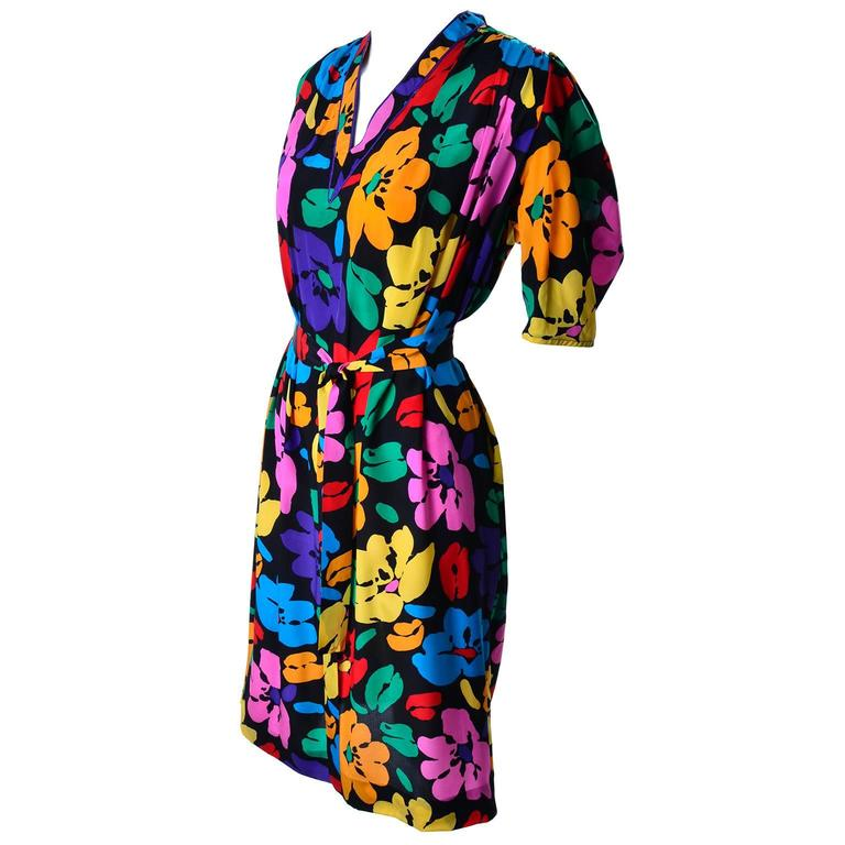 Vintage Dress by Emanuel Ungaro Parallele in Bright Floral Silk Print For Sale